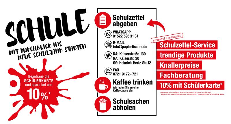 Schulzettel-Service zum Schulanfang 2017 bei Papier Fischer Karlsruhe