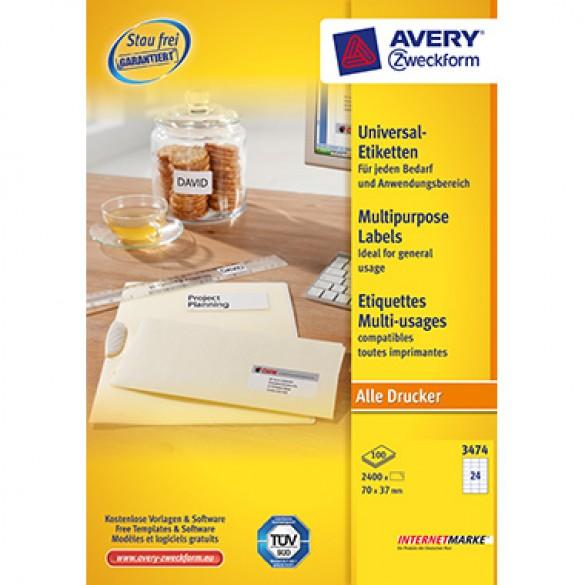 Avery Zweckform Universaletikett 70 x 37 mm B x H Papier weiß 2.400