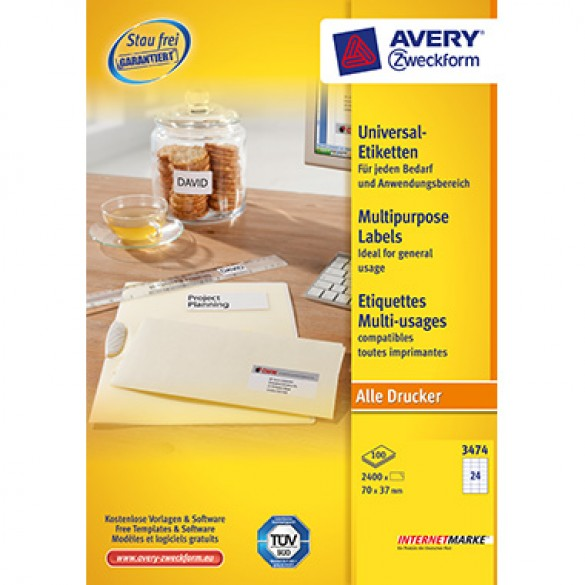 Avery Zweckform Universaletikett 3474 70 X 37 Mm B X H
